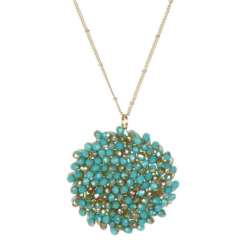 Crystal Pendant Necklace-Turquoise and Gold