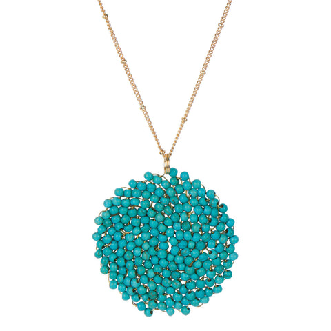 Crystal Pendant Necklace-Turquoise