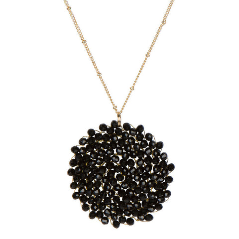 Crystal Pendant Necklace-Jet Black