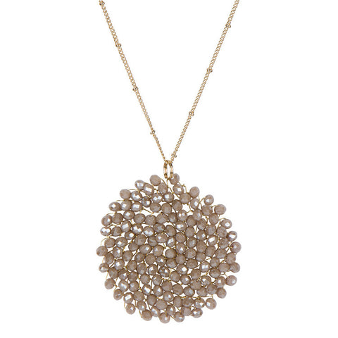 Crystal Pendant Necklace-Taupe