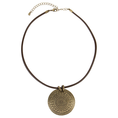 Corded Medallion Necklace in Gold or Silver