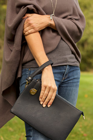 Buckle Clasp Clutch-Black