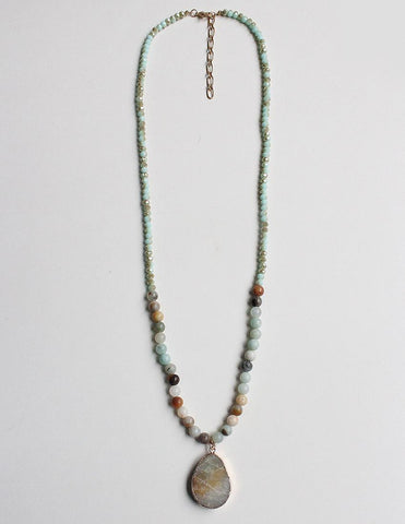 Natural Stone Pendant Necklace in Shades of Mint