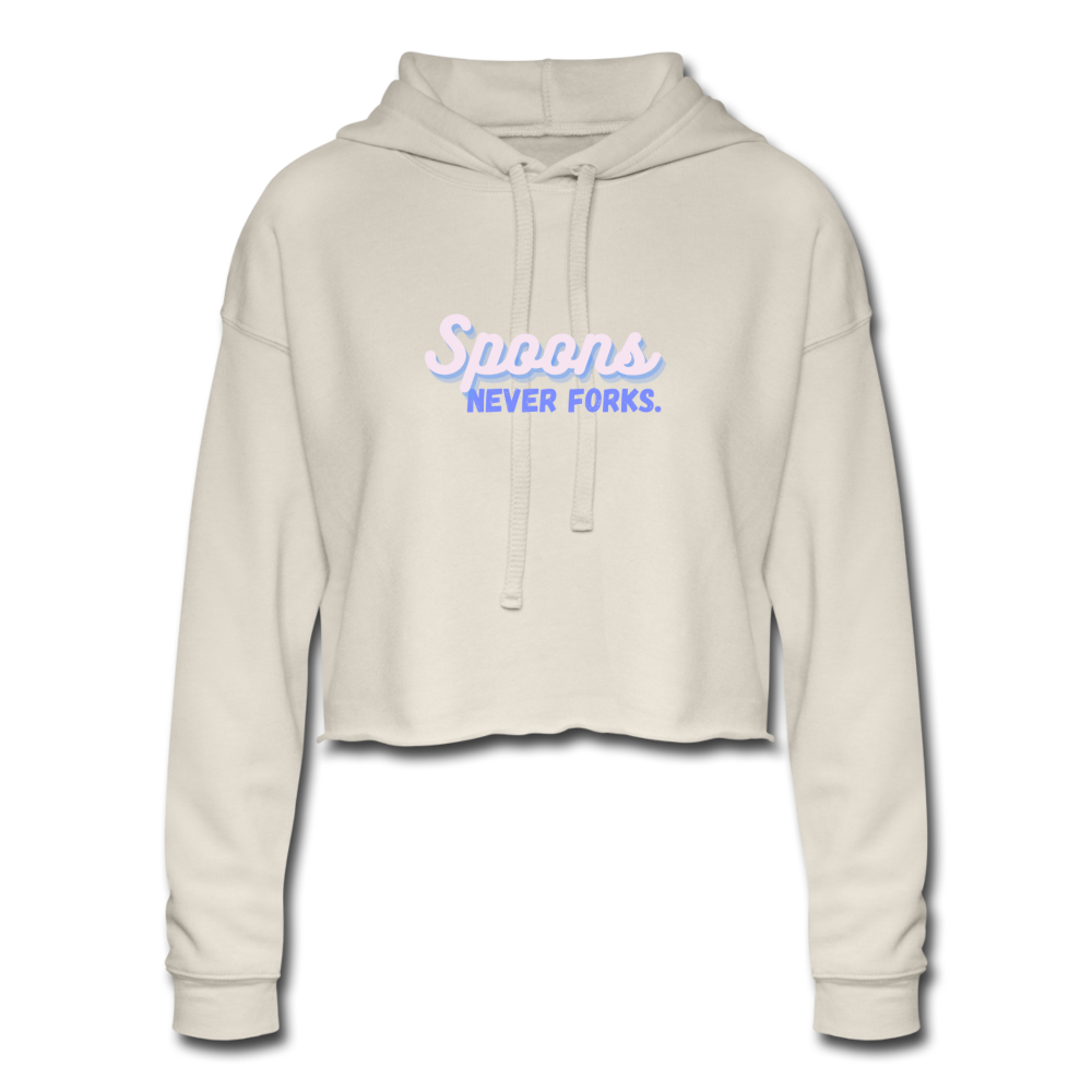 Spoons Never Fork Cropped Hoodie - dust