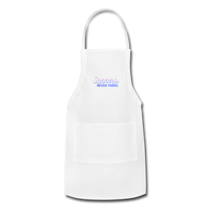 Spoons Never Forks Apron - white