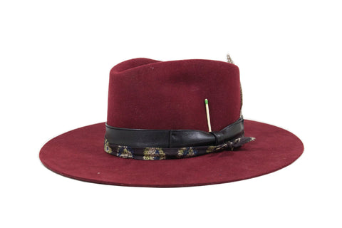 """Virgin"" Tear Drop Fedora in Burgundy"