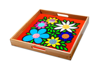 Flowered Tray - Orange - Art by Mele
