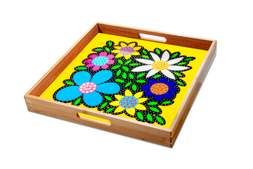 Flowered Tray - Yellow - Art by Mele