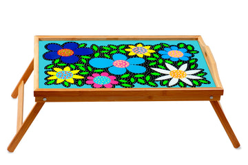 Flowered Breakfast Tray - Turquoise - Art by Mele