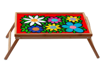 Flowered Breakfast Tray - Orange - Art by Mele