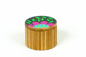 Flowered Round Box - Fuchsia - Art by Mele