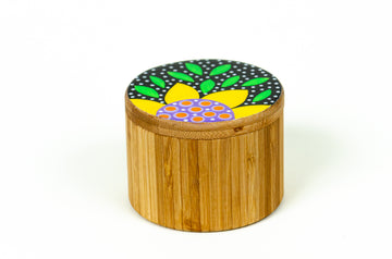 Flowered Round Box - Yellow - Art by Mele