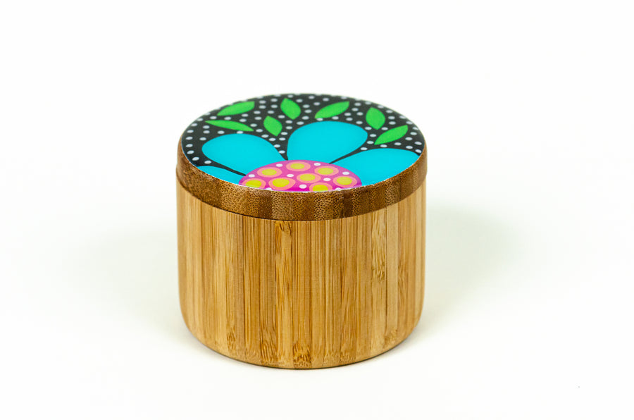 Flowered Round Box - Turquoise - Art by Mele