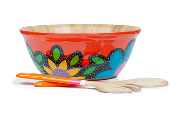 Flowered Salad Bowl Set - Orange - Art by Mele