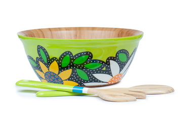 Flowered Salad Bowl Set - Green - Art by Mele