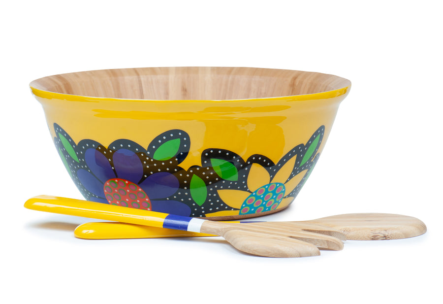 Flowered Salad Bowl Set - Yellow - Art by Mele