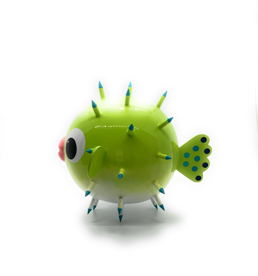 Colored Globefish - Lime Green - Art by Mele