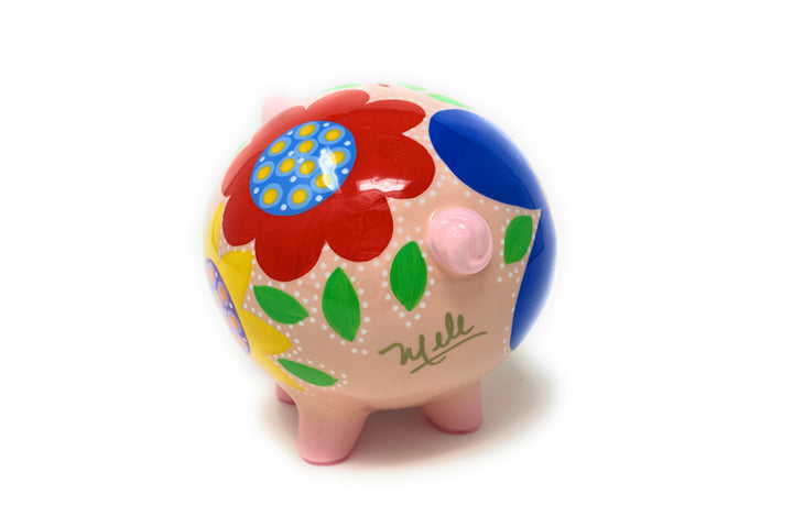 Decorative Piggy Bank - Royal Blue/Red - Art by Mele