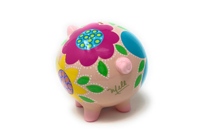Decorative Piggy Bank - Turquoise/Fuchsia - Art by Mele