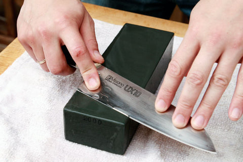 Sharpening knife on a block