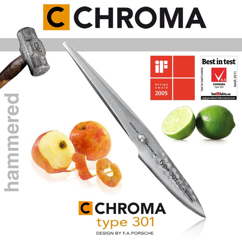 "Chroma Type 301 3.25"" Paring Knife with Hammered Finish - Premium Chef Knives"