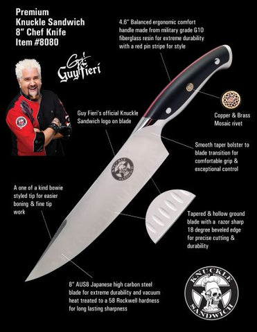 Knuckle Sandwich 8 inch Chef Knife-KYDEX Sheath & FREE Pocket Knife - Premium Chef Knives