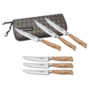 Messermeister Oliva Elite Fine-Edge 6 Steak Knife Set in Knife Roll - Premium Chef Knives