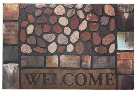 NEW! Door Mat | Recycled Crumb Rubber (Flocked) | Stones