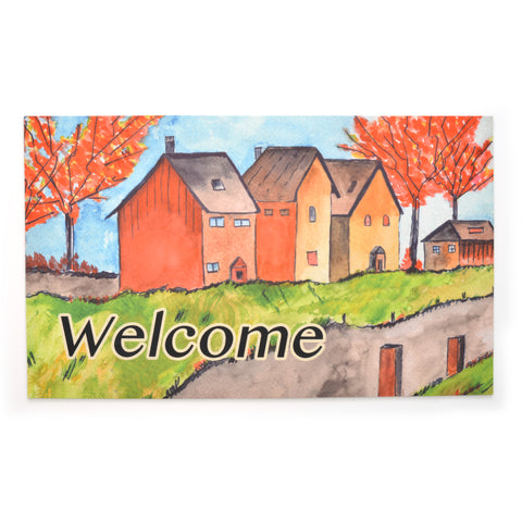 Stephan Roberts® | Flock Printed Crumb Rubber - Cottages in the Fall Mat