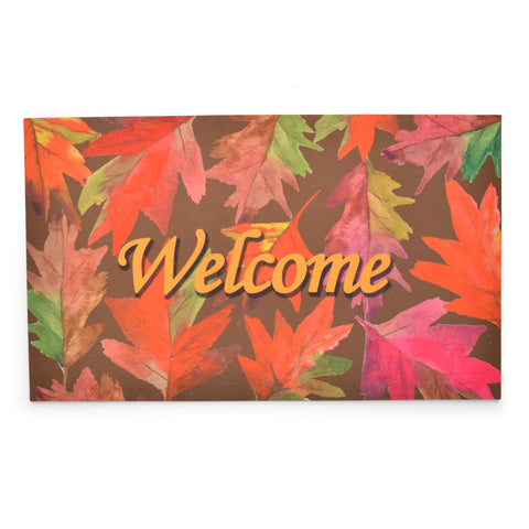 Stephan Roberts® | Flock Printed Crumb Rubber - Welcome Leaves Mat
