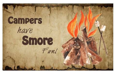 RV/Camping | Accent Mat - Textilene | Campers have smores fun