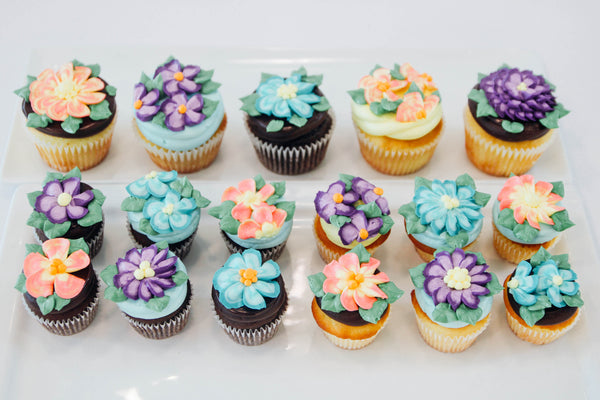 Assorted Floral Chocolate and Vanilla Cupcakes