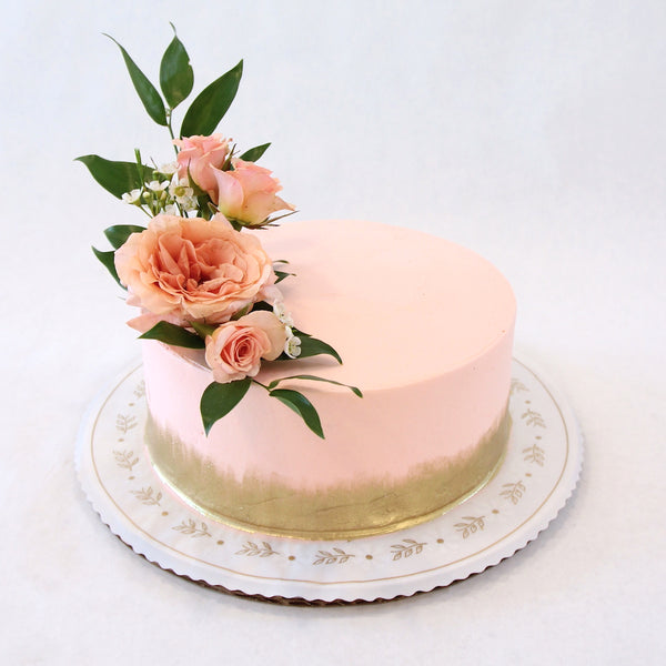 Gold Brushed Sweetheart Cake - No Flowers