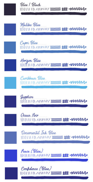 Monteverde Fountain Pen Ink Set, Bloo Collection, 10 Piece Set