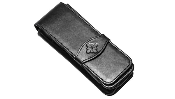 Diplomat Black Leather Pen Case, Hold 4 Pens