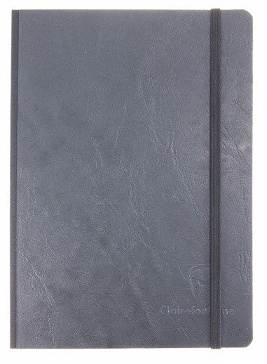 Clairefontaine Basic Notebooks Side Clothbound w/Elastic Closure 6 x 8 ¼ Lined Black 96 sheets