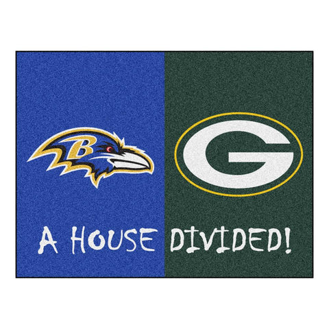 "Baltimore Ravens-green Bay Packers Nfl House Divided Nfl ""all-star"" Floor Mat (34""x45"")"