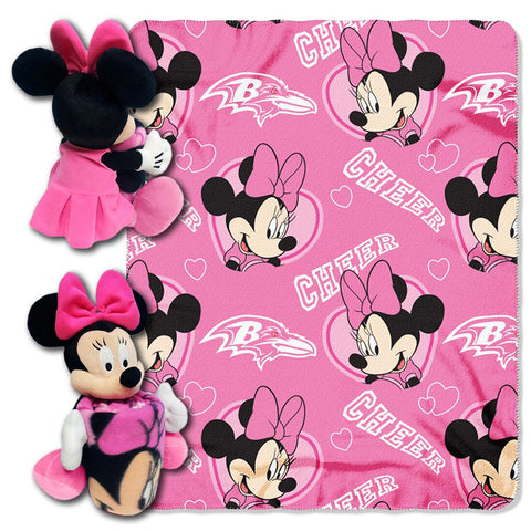 Baltimore Ravens Nfl Minnie Mouse With Throw Combo