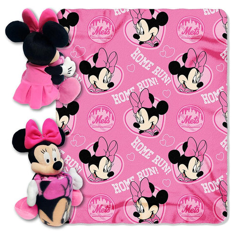 New York Mets Mlb Minnie Mouse With Throw Combo