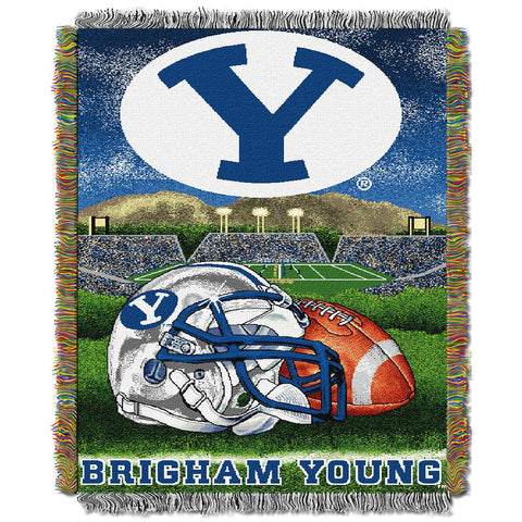 "Brigham Young Cougars Ncaa Woven Tapestry Throw (home Field Advantage) (48""x60"")"
