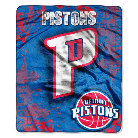 "Detroit Pistons Nba Royal Plush Raschel Blanket (drop Down Series) (50""x60"")"