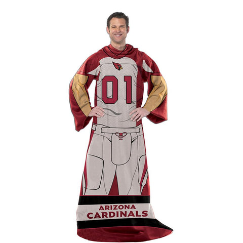 Arizona Cardinals Nfl Uniform Comfy Throw Blanket W- Sleeves