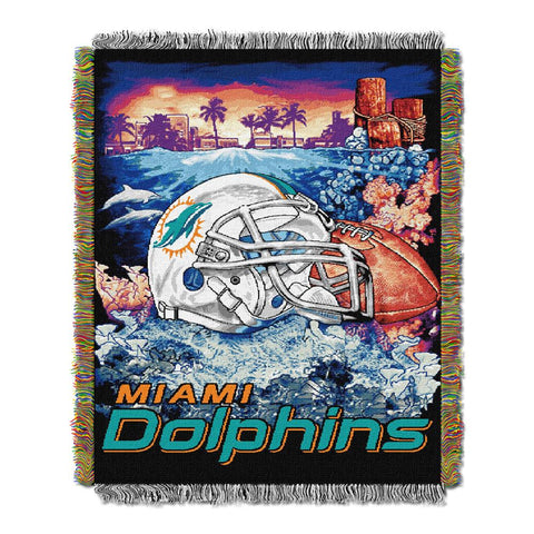 "Miami Dolphins Nfl Woven Tapestry Throw (home Field Advantage) (48""x60"")"