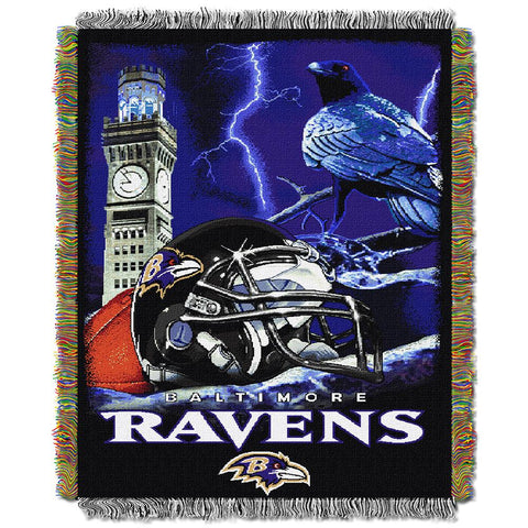 "Baltimore Ravens Nfl Woven Tapestry Throw (home Field Advantage) (48""x60"")"