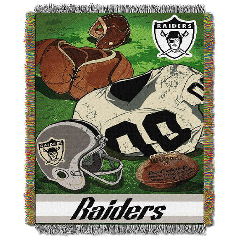 "Oakland Raiders Nfl Woven Tapestry Throw (vintage Series) (48""x60"")"