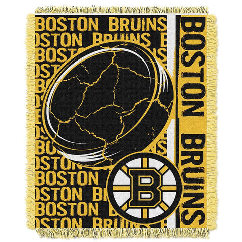 "Boston Bruins Nhl Triple Woven Jacquard Throw (double Play Series) (48""x60"")"