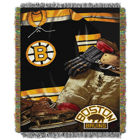 "Boston Bruins Nhl Woven Tapestry Throw (vintage Series) (48""x60"")"