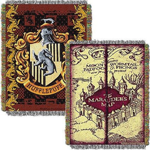 Harry Potter Marauders Map With Hufflepuff Crest Woven Tapestry Throw (48inx6...