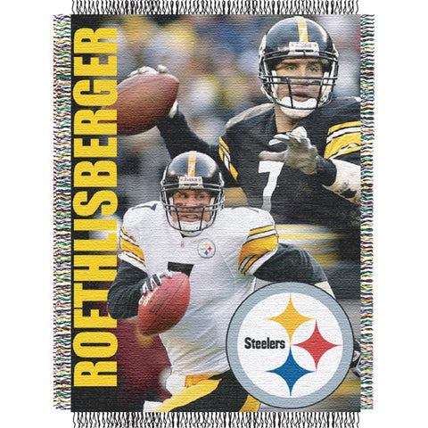 "Ben Roethlisberger #7 Pittsburgh Steelers Nfl Woven Tapestry Throw Blanket (48""x60"")"