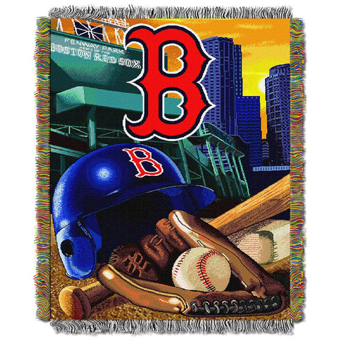 "Boston Red Sox Mlb Woven Tapestry Throw (home Field Advantage) (48""x60"")"